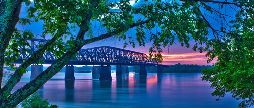 Landscape Bridge Mississippi Sunset Evening Travel