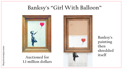 Banksy self destructs meme