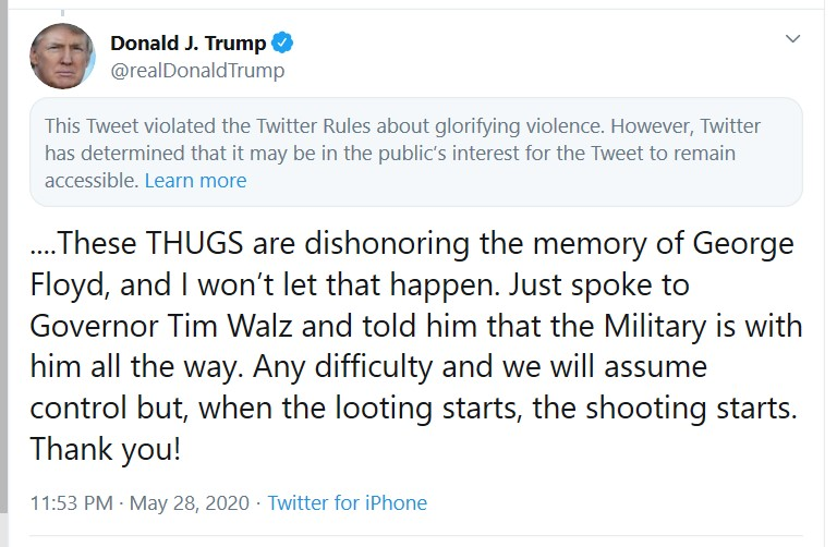 Trump too violent Tweet